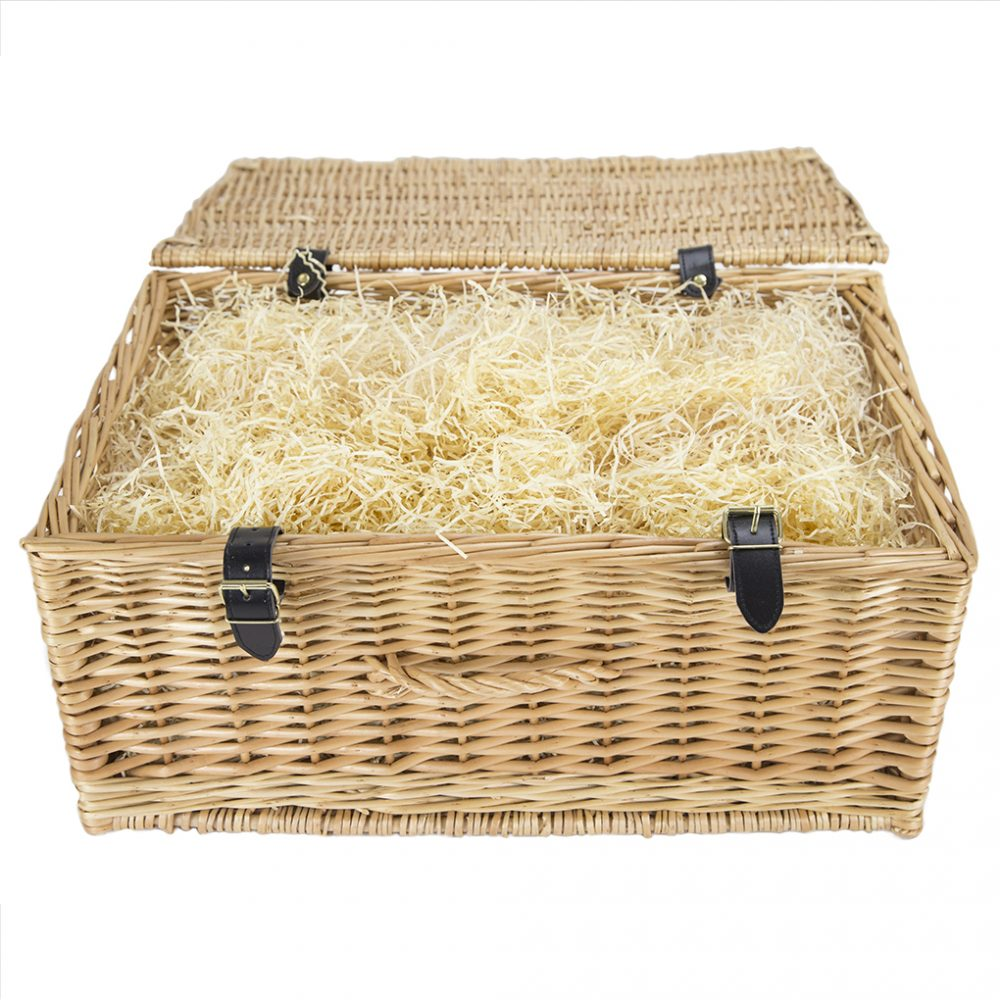 20 Wicker Basket With Faux Leather Straps Packaging The Cornish Hamper Store
